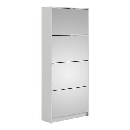 Mirrored Shoe Cabinet with 4 Drawers
