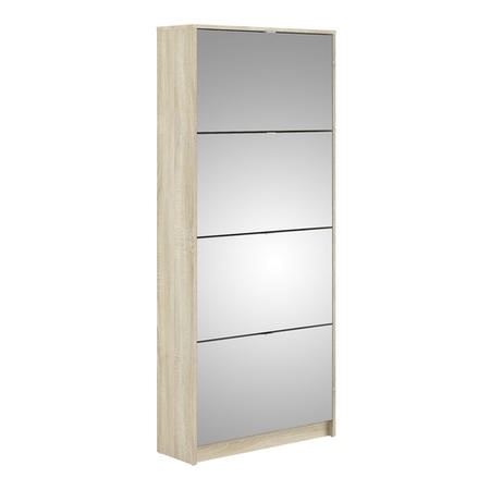 Mirror & Oak Coloured Slim Shoe Cabinet with 4 Drawers - Wall Hung