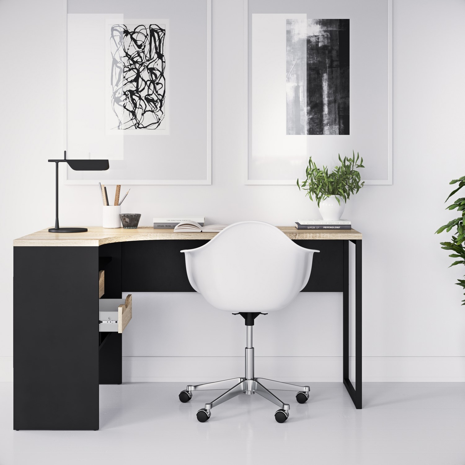 Photo of Corner desk in black & oak with 2 drawers - function