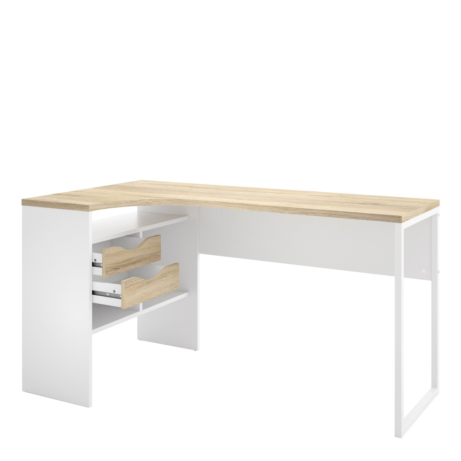 Corner Desk In White Oak With 2 Drawers Function Furniture123