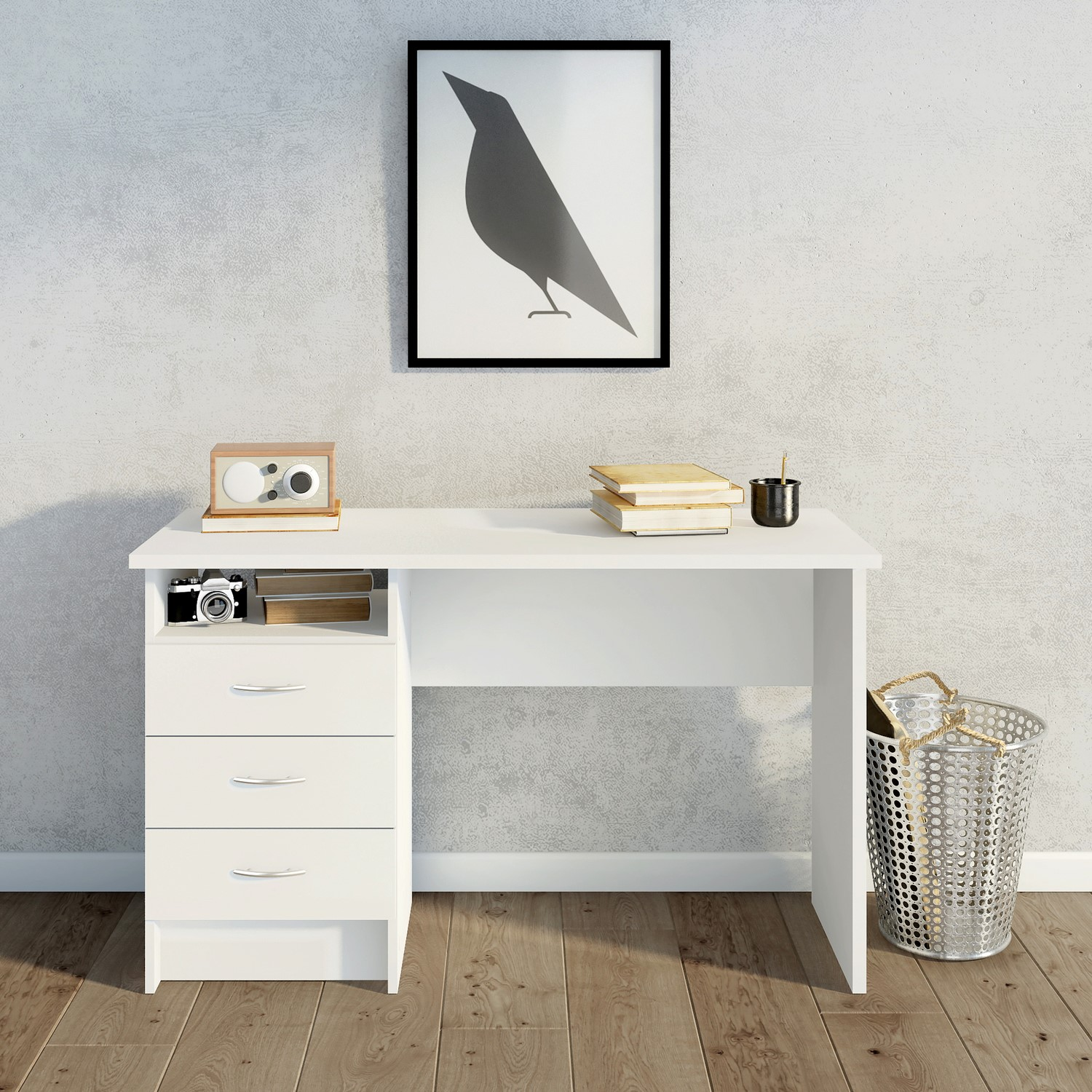 White Desk With 3 Drawers Function Furniture123