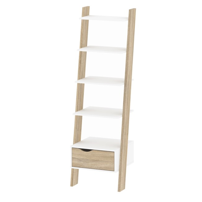 White & Oak Leaning Bookcase with 1 Draw - Oslo