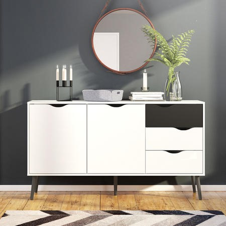 Oslo Large Sideboard 3 Drawers 2 Doors in White and Black Matt
