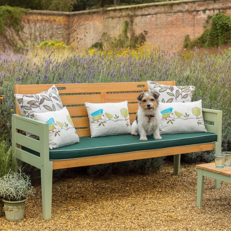 Verdi 3 Seater Garden Bench In Green Cushion Included