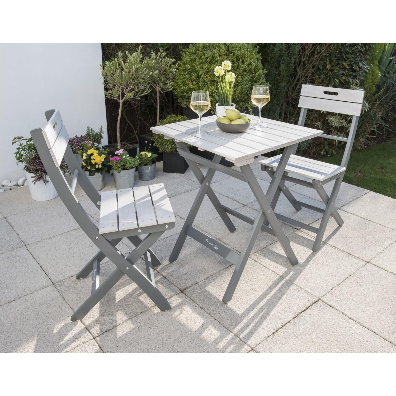 - Grigio Folding Wooden Garden Furniture Bistro Set In Grey