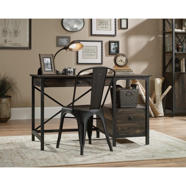 Teknik Office Steel Gorge Desk with Carbon Oak effect finish