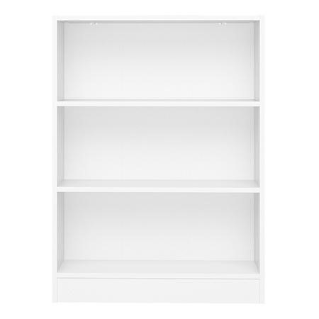 White Basic Low Wide Bookcase