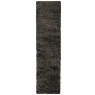 Velvet Shaggy Charcoal Runner Rug - 60 x 230 cm - Flair