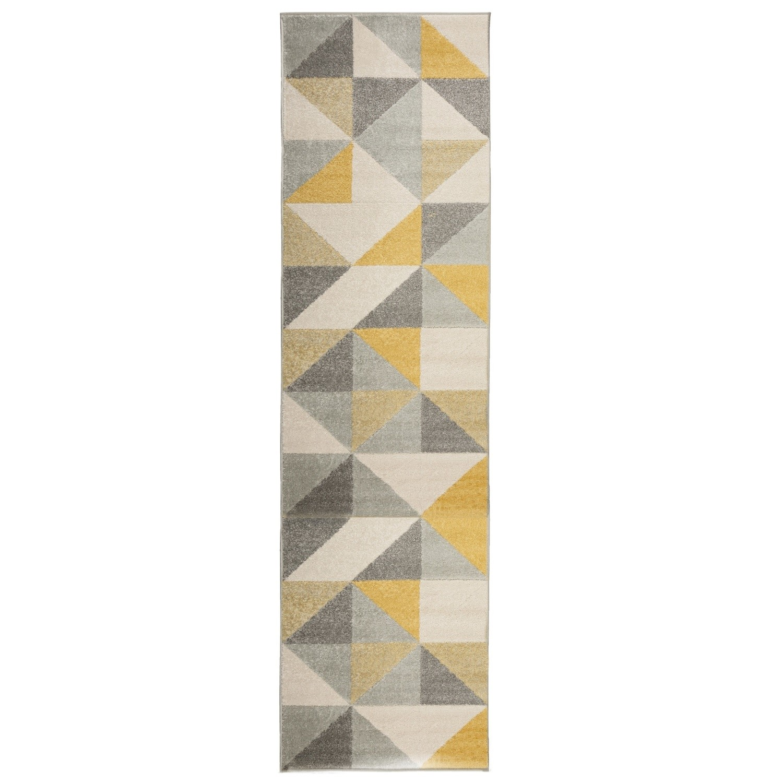 Urban Triangle Ochre & Grey Runner Rug - 60 x 220 cm - Flair
