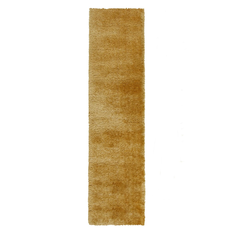 Velvet Shaggy Ochre Runner Rug - 60 x 230cm - Flair