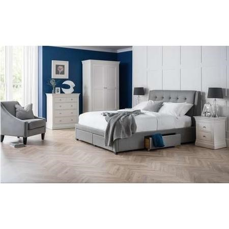 Julian Bowen Grey King Size Bed Frame with Pull Out Storage Drawers - Fullerton