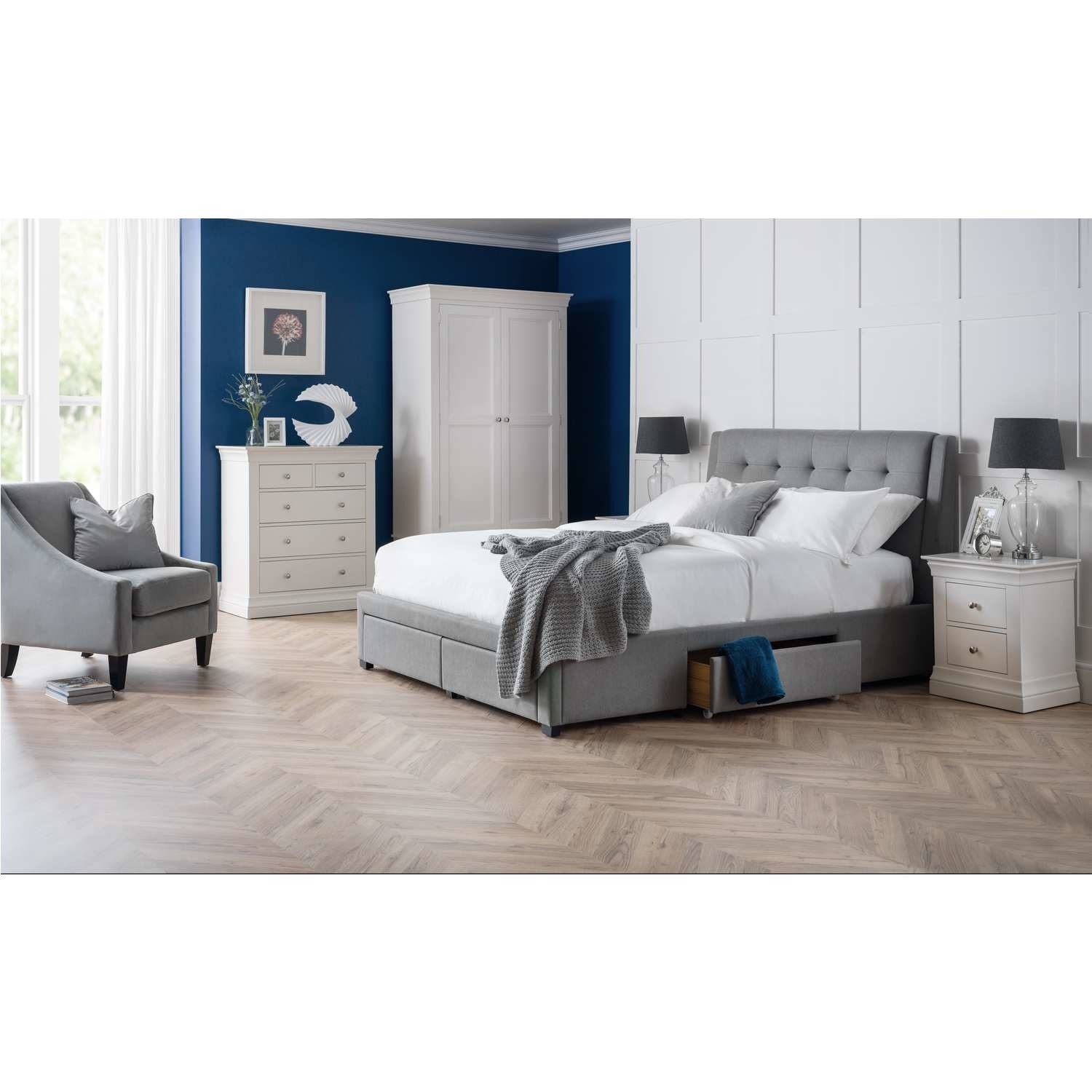 Julian Bowen Grey King Size Bed Frame with Pull Out Storage Drawers  Fullerton