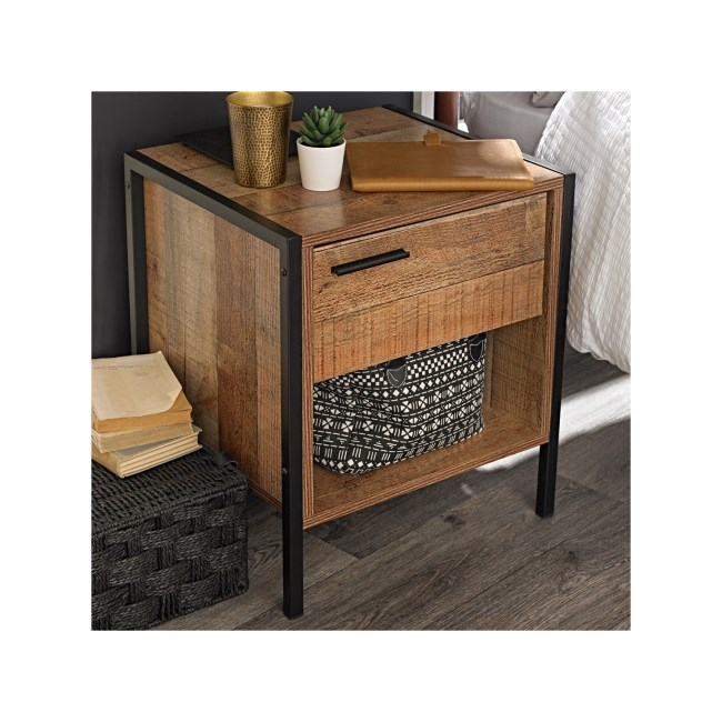 LPD 1 Drawer Bedside Table in Distressed Oak Effect - Industrial Style