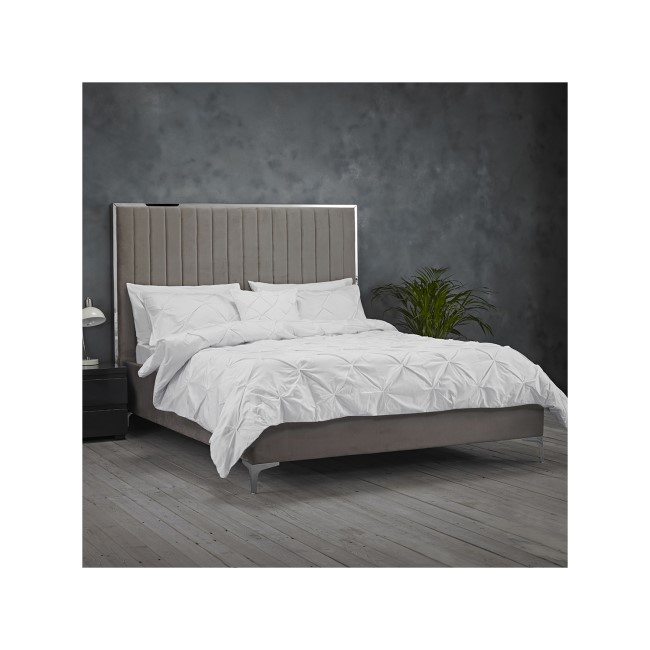 LPD Grey Velvet Double Bed Frame with Mirrored Headboard Trim - Berkeley