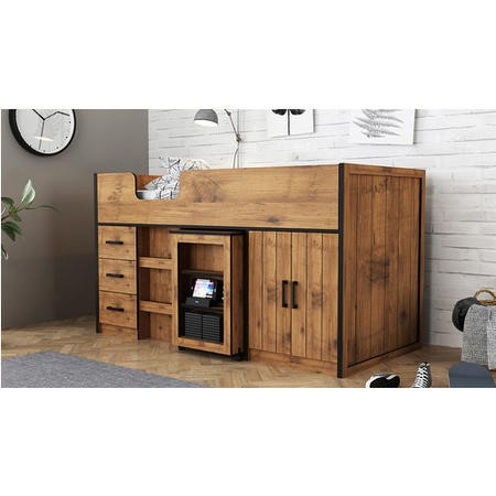 LPD Industrial Style Cabin Bed with Storage in Vintage Oak - Rocco
