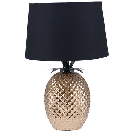 Pineapple Table Lamp in Gold with Black Light Shade