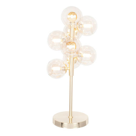 Glass Orb Table Lamp with Shiny Gold Base