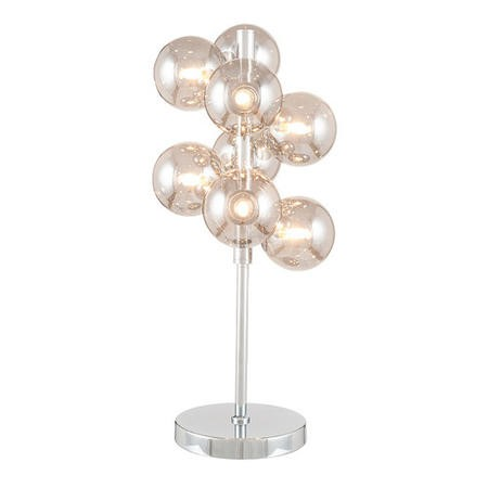 Smoked Grey Glass Orb Table Lamp with Chrome Base