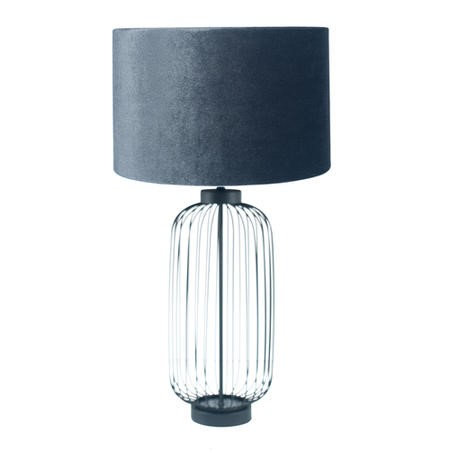 Ribbed Glass Table Lamp with Grey Velvet Shade - Tall