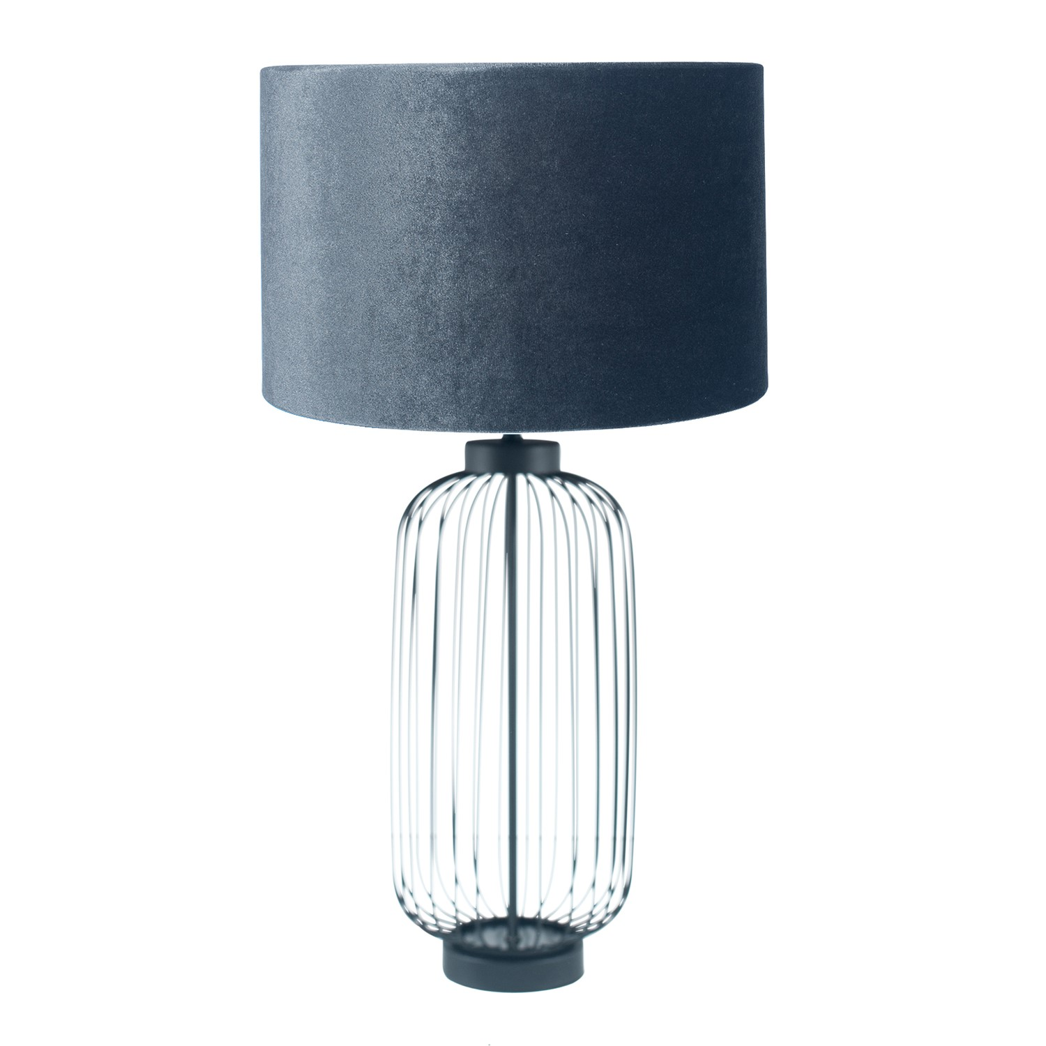 Ribbed Glass Table Lamp With Grey Velvet Shade Tall Furniture123