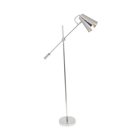 Shiny Nickel Task Floor Lamp with Cone Shade