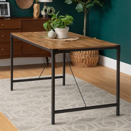 Industrial Dining Table with Wooden Top & Black Metal Legs - Foster
