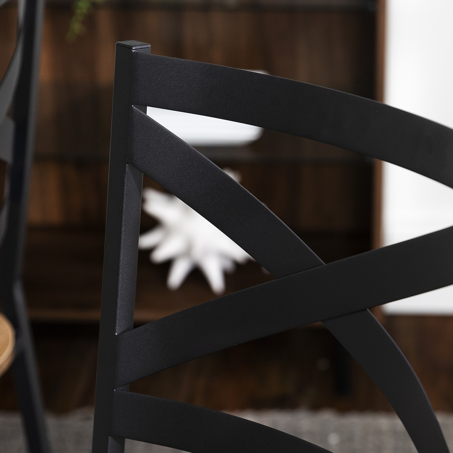 Pair of Industrial Black & Wood Dining Chairs Foster