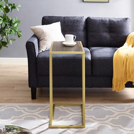 Foster Wooden Side Table with Gold Frame