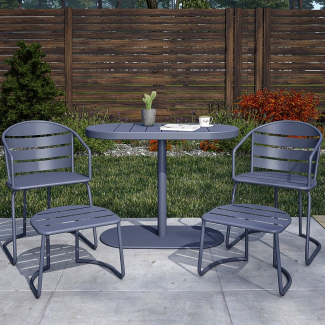 Outdoor Living 2 Seater Grey Patio Bistro Set with Footstools - Infellifit