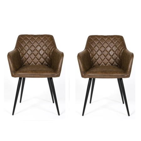 Brown Faux Leather Carver Dining Chairs - Set of 2 - Charlie