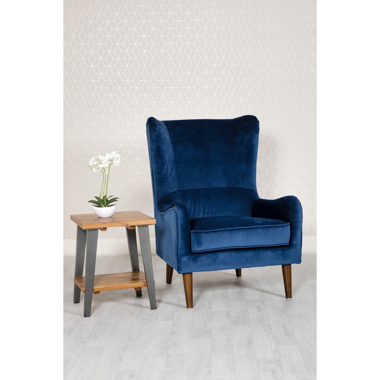 Blue Velvet Accent Chair - Freya