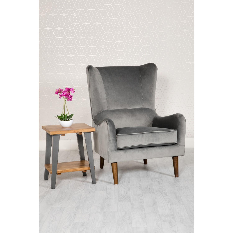 Grey Velvet Accent Chair - Freya