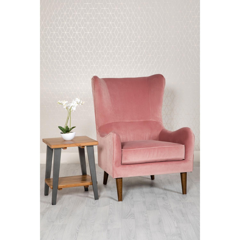 Pink Velvet Accent Chair - Freya