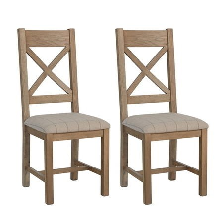 Pair of Dining Chairs with Cream Seat & Cross Back in Smoked Oak