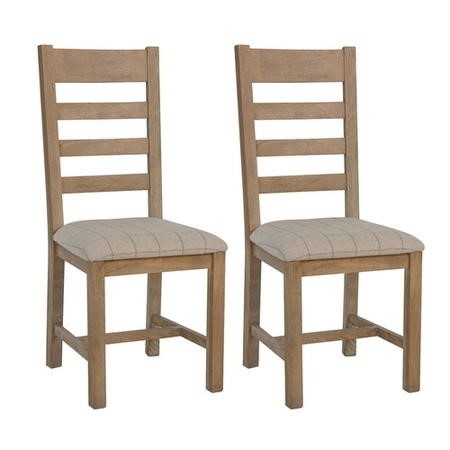 Pair of Smoked Oak Dining Chairs with Cream Seat & Slatted Back