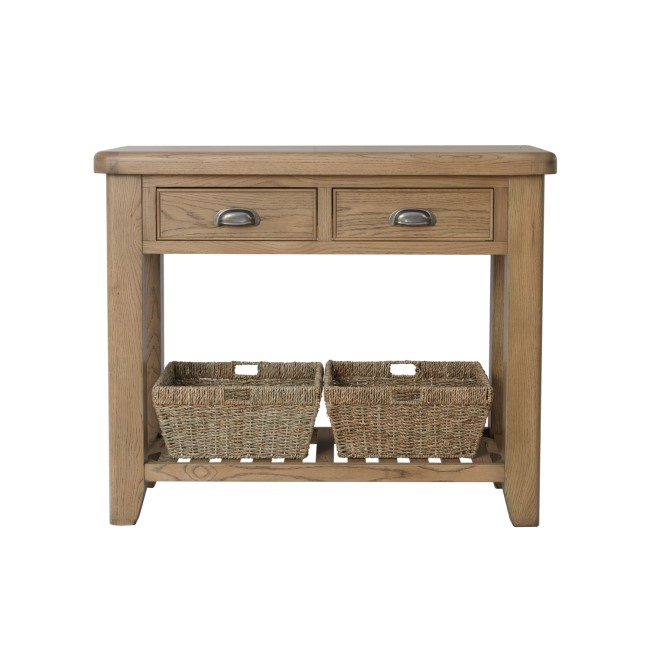 Smoked Oak Console Table with Wicker Baskets
