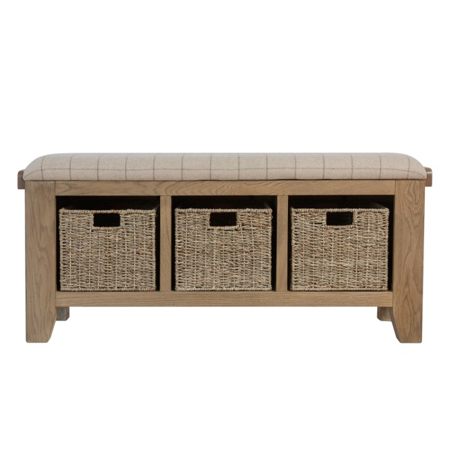 Smoked Oak Hall Bench with Wicker Baskets