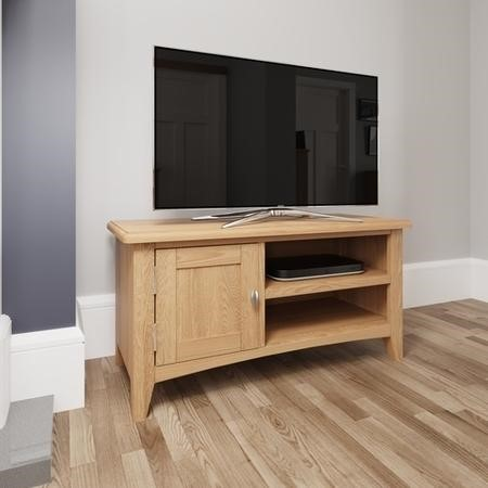 Bourton Solid Oak TV Unit with Cupboard & Open Shelves