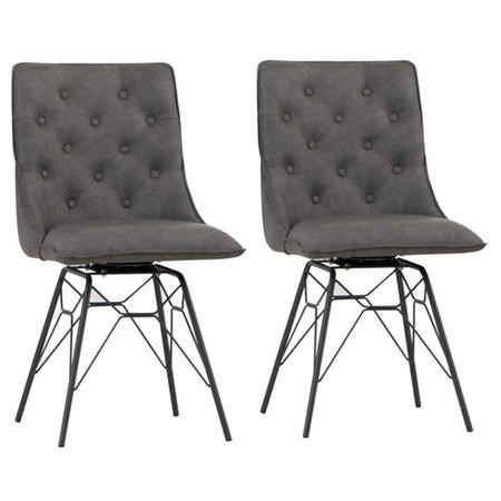 Grey Dining Chairs with Hairpin Legs - Set of 2