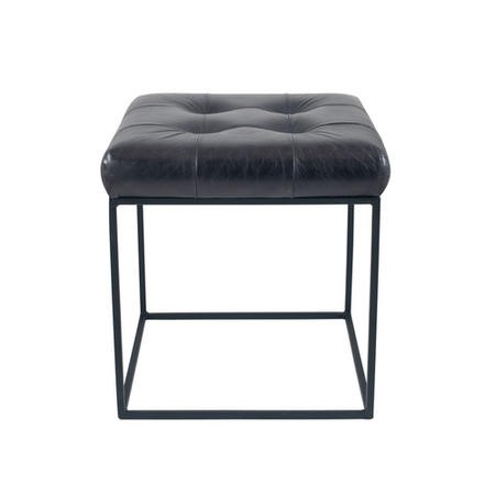Steel Grey Leather & Iron Buttoned Footstool