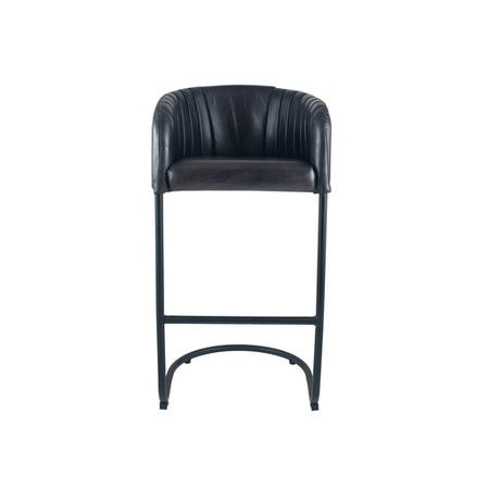 Steel Grey Leather & Iron Curved Back Bar Stool