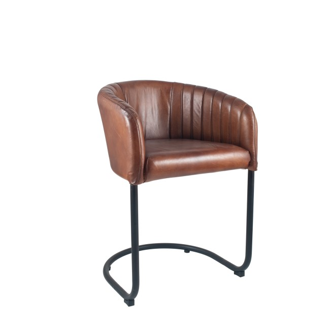 GRADE A2 - Vintage Brown Leather & Iron Curved Back Chair