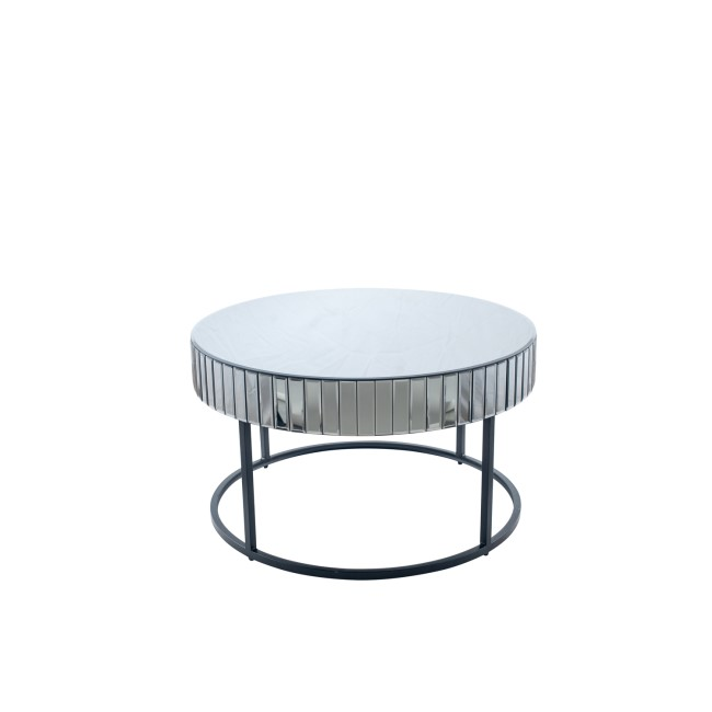Smoked Grey Coffee Table with Mirror Panels