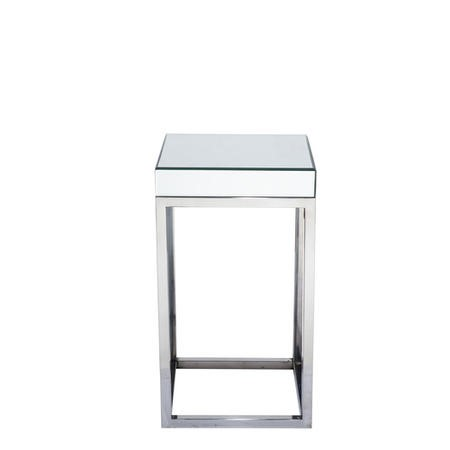 Mirrored Small Side Table in Glass & Metal