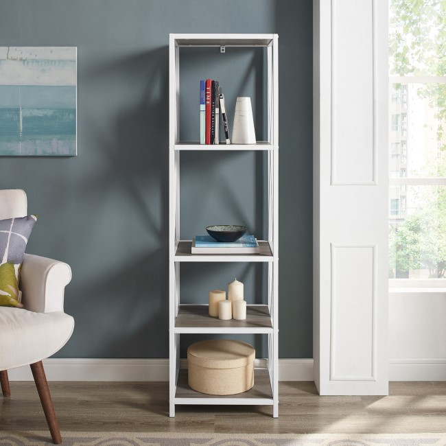 Ladder Bookcase with Wood Shelves & White Frame