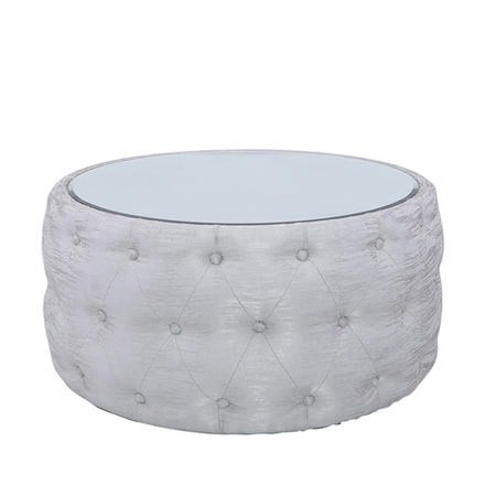 Silver Coffee Table With Mirrored Top & Velvet Tufted Design