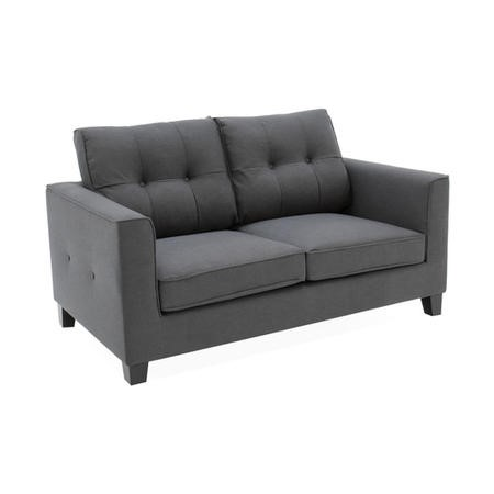 Astrid Grey Fabric 2 Seater Sofa with Button Back