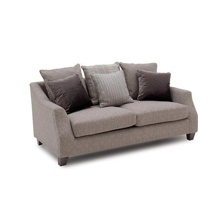 Arden Grey Fabric 2 Seater Sofa with Studded Arms & Cushions