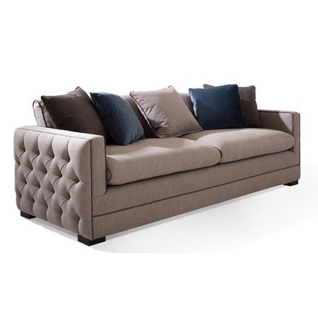 Light Grey 4 Seater Sofa with Deep Button Arms