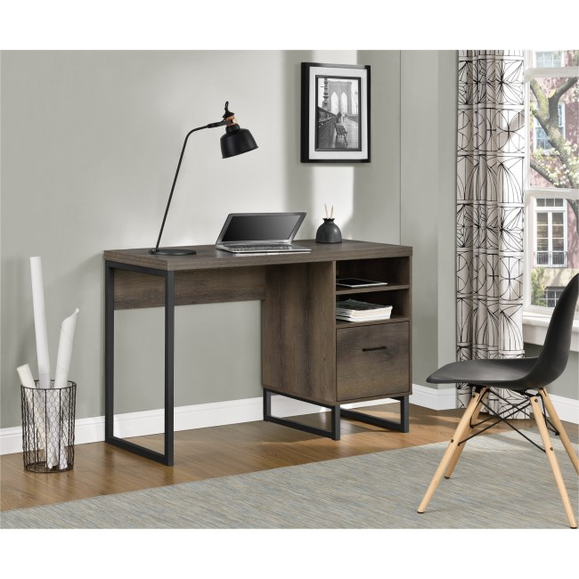 Candon Brown Desk with Black Metal Legs